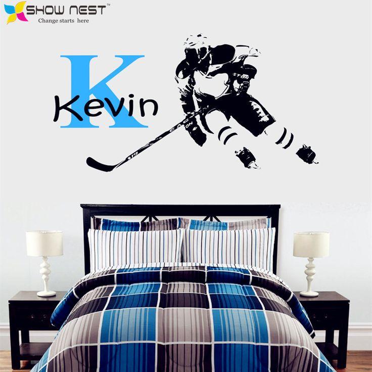 Hockey Wall Decal - Custom First Name Hockey Decor - Hockey Wall Art Mural - Hockey Player Personalized Headboard Boys Bedroom #Affiliate