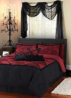 40 Ideas For Gothic Bedroom Designs With Black Wooden Bed Black And Red Blanket With Red Pillow With Black Curtain