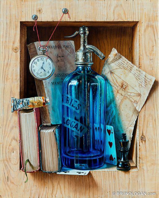 Bric-à-brac de Léonardo - 41x33cm : Accessoires und Dekoration von Peinture en trompe-l'oeil