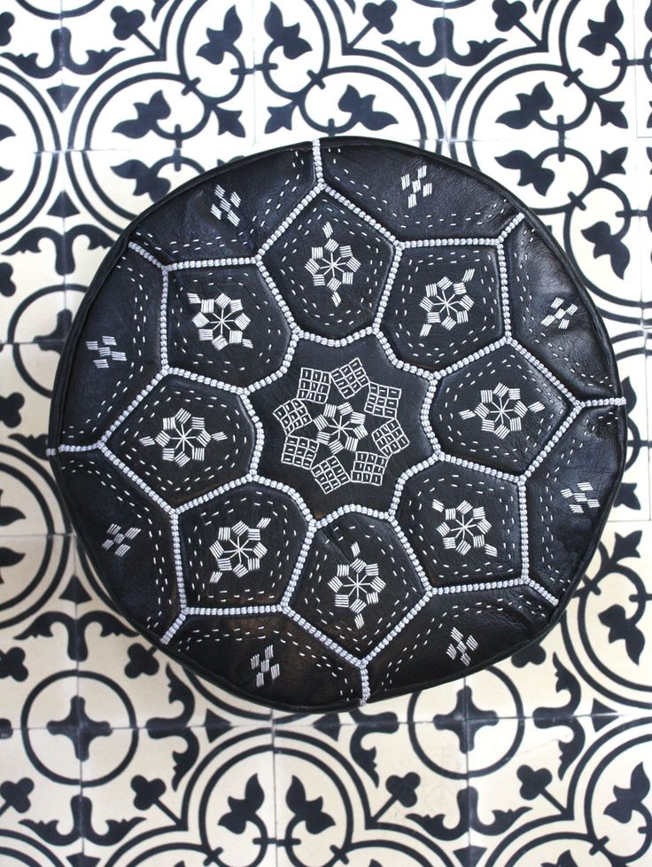 Moroccan Leather Tile Design Pouffe, Black & Silver, lovee