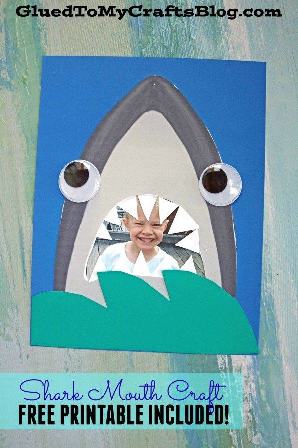 Paper Shark Mouth Kid Craft W Free Printable Shark Week Crafts