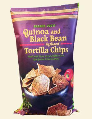 Trader Joe's Quinoa and Black Bean Infused Tortilla Chips  12 oz. $2.69  #traderjoes #Quinoa  #BlackBean #Chips
