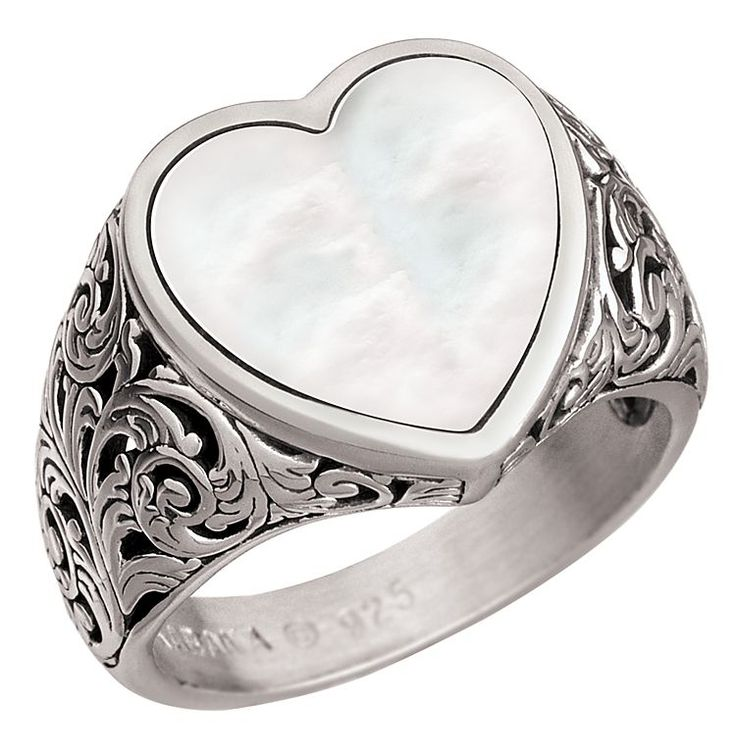 Kabana Jewelry Sterling Silver Filigree Heart Ring - White Mother of Pearl | Bass Pro Shops