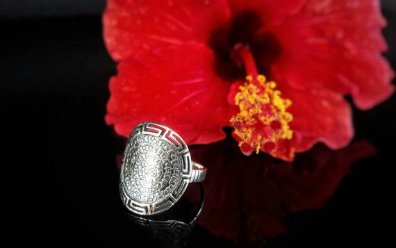 Phaistos disc silver meander ring greek jewelry by ThetisTreasures