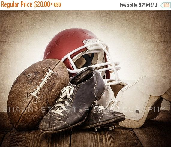 This listing is for One print of a 1950s vintage football, helmet, old football cleats and some old football pads. The sepia, distressed tones will add so much warmth and character to your space. This would be a perfect print for your little boys room, nursery or a man cave!  This photo is also available with a Navy Blue and Yellow Helmet  Please select either photo or canvas as well as the size youd like from the drop down menu as you place it in your cart. Pricing is also available there…