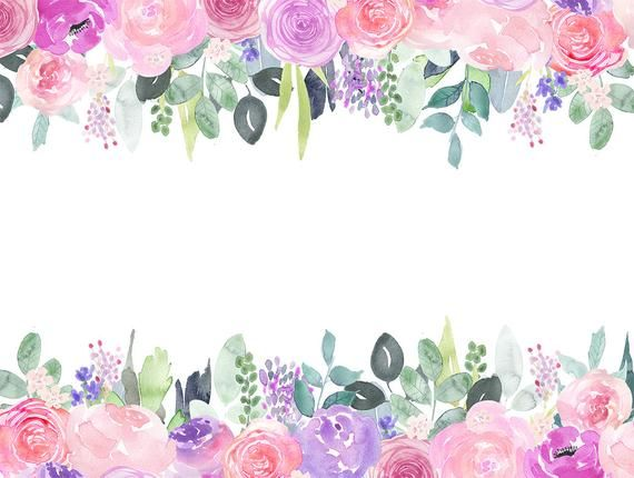 Watercolor Floral Clip Art Pink And Purple Rose Flower Frames