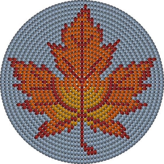 Wayuu Mochila bottom maple leaf: