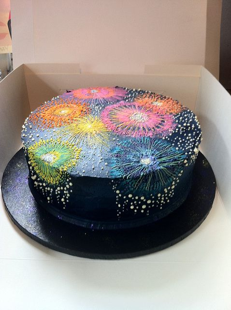 Firework cake by Katja  I hope that's a chocolate base for everyone's teeth sake. lol Mjc