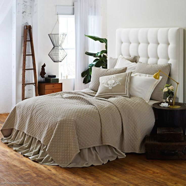 Lili Alessandra Emily Diamond Quilted Bedding in Flax Linen Collection