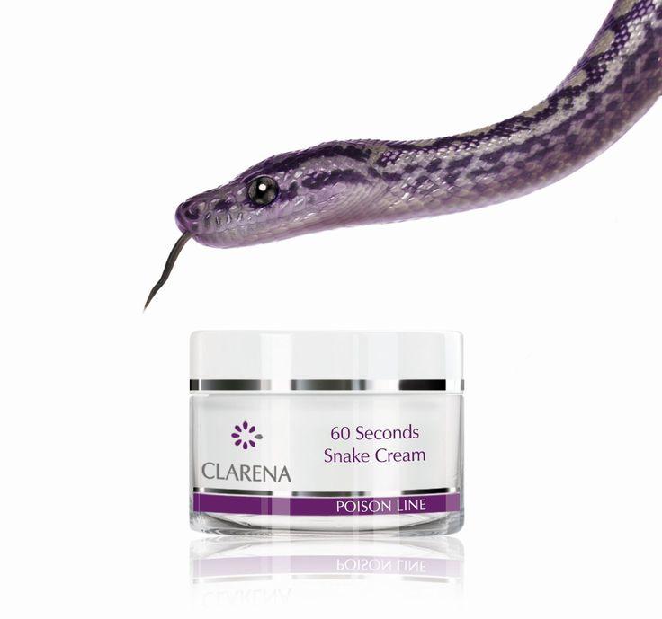 60 Seconds Snake Cream, czyli krem z jadem węża. Składnikiem aktywnym kremu jest SYN – AKE, który blokuje skurcze mięśni mimicznych odpowiedzialnych za powstawanie zmarszczek. Jad węża neutralizuje mikroskurcze dając natychmiastowy efekt wygładzenia - skóra odpoczywa podobnie jak podczas snu. Krem stosowany regularnie prowadzi do widocznego zmniejszenia zmarszczek mimicznych i gwarantuje poprawę elastyczności skóry. #synake #jadweza #antiage #clarena