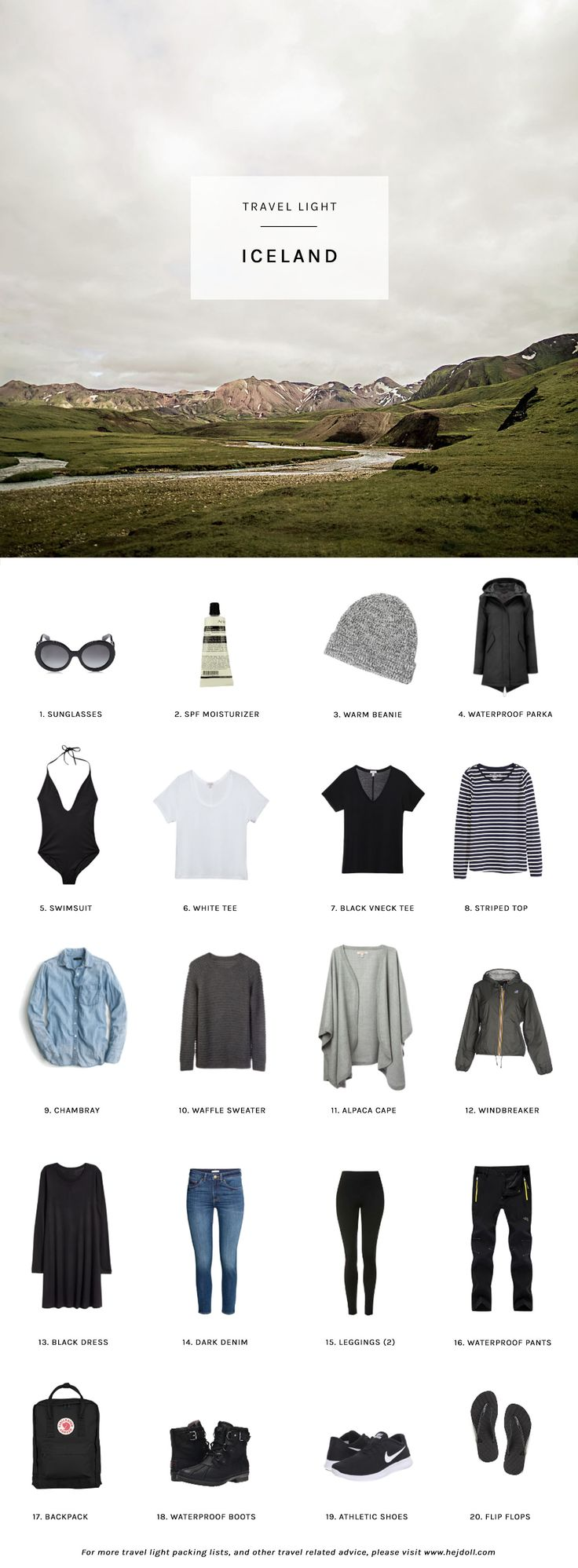 Travel Light - Pack for Iceland in the Summer. 20 items, 10 outfits, 1 carry-on.