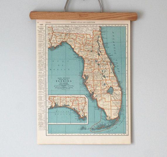 Carte État antique des années 1930 de Floride et du Connecticut