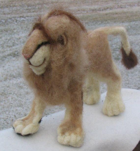 Needle felted lion.  Artist Gail Flint