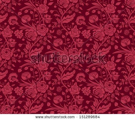 Claret seamless pattern with a vintage flower bouquets carnations and chrysanthemums - stock vector