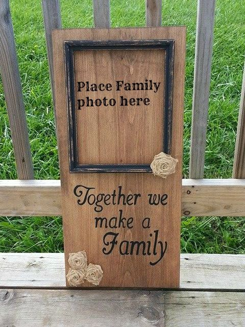 Custom Painted Wooden Family Sign - Together We Make a Family - Stained Wood - Burlap Flowers - Rustic Wedding Gift - Bridal Shower