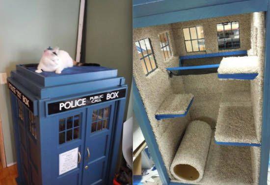 TARDIS Cat House | 11 Functional Homemade TARDISes