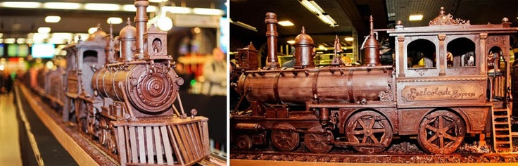 The LONGEST chocolate train was revealed at Brussels Chocolate Week, made by Maltese chocolate artist Andrew Farrugia - this sculpture is 112-feet (34.05 meters) long and weighs over 2,755 pounds