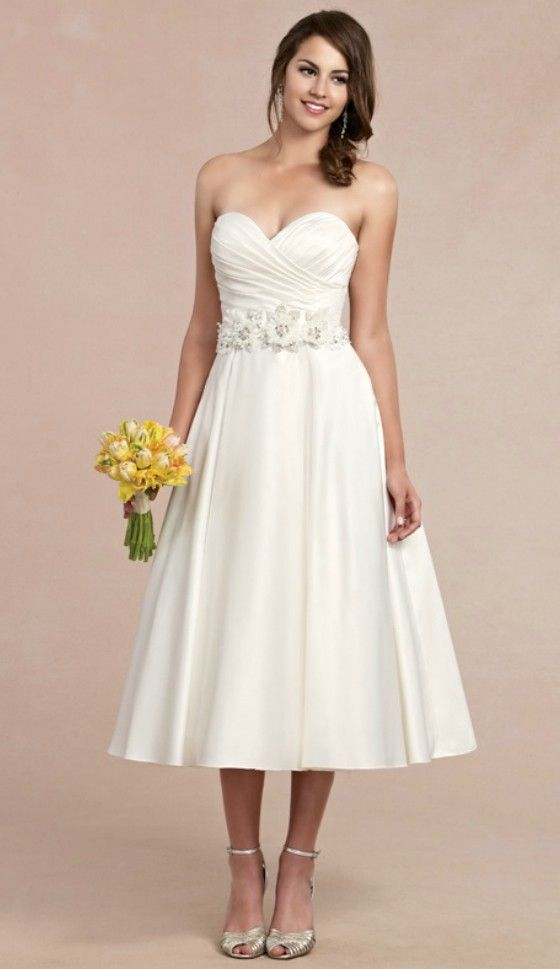 Sweet tea length wedding dress for older brides over 40 for Wedding dress ideas for short brides