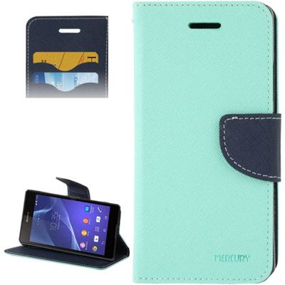 Mercury Leather Case Θήκη Πορτοφόλι Πράσινο (Xperia M2) - myThiki.gr - Θήκες Κινητών-Αξεσουάρ για Smartphones και Tablets - Χρώμα μπλε με πράσινη δέστρα