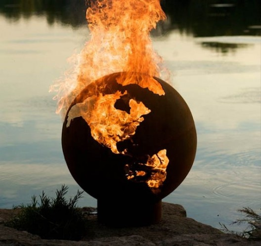 Third Rock Fire Pit designed by artist Rick Wittrig. Now you can set the world on fire!: Ideas, Globes, Outdoor, Rock Fire Pits, Firepits, Earth, Garden, Third Rock