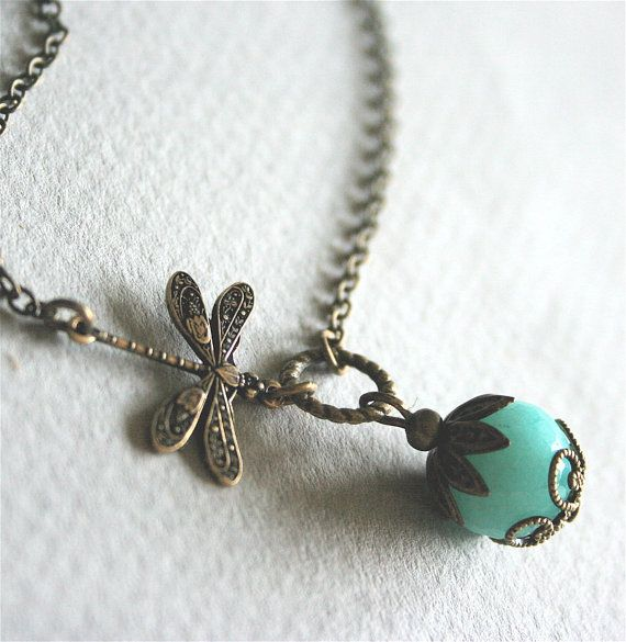 Dragonfly Necklace with Blue Jade by smilesophie on Etsy