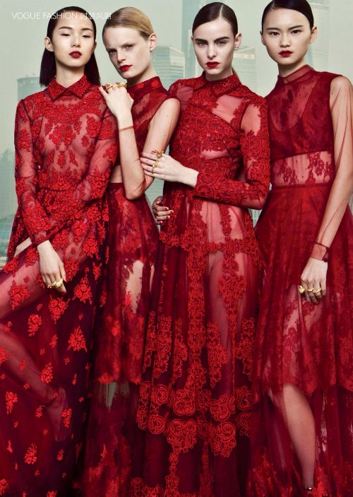 Good Fortune, joy and a little red dress. Happy Lunar New Year. Image via Vogue China.