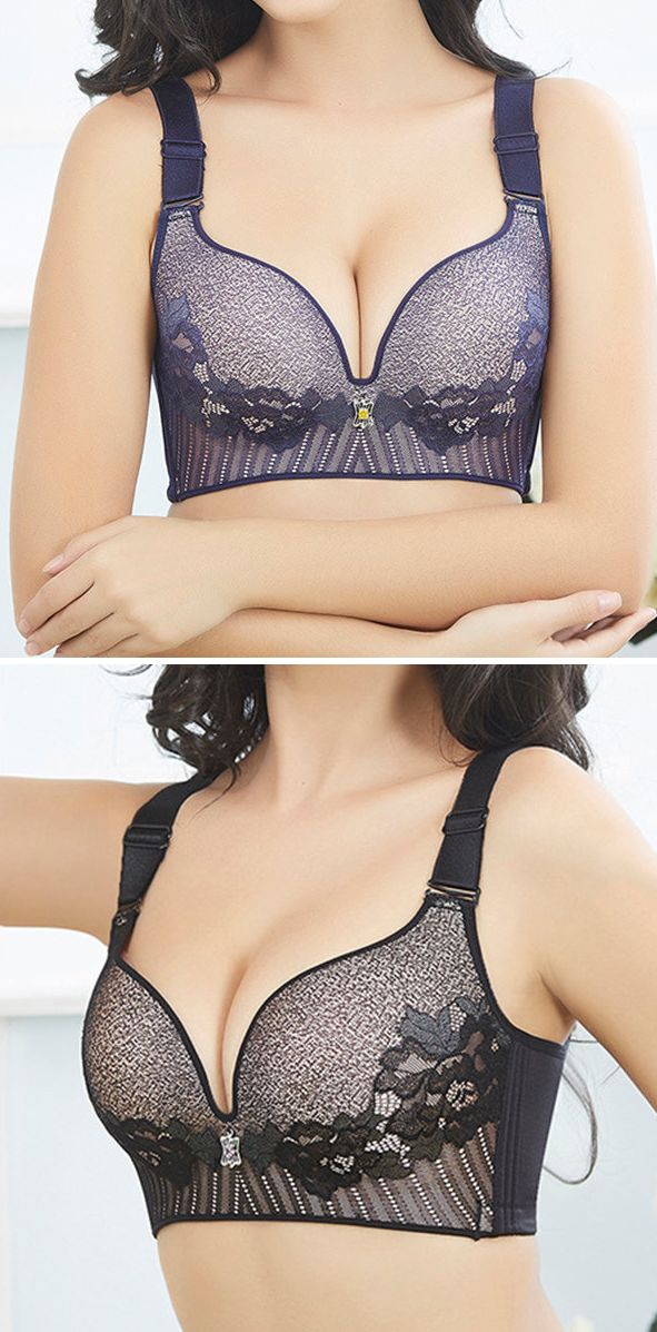 US$ 15.04 Plus Size Sexy Full Coverage Unlined Wireless Massage Lace Bras