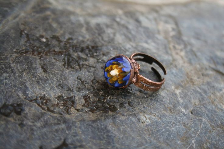 DragonGlass copper ring with blue and yellow petals by LikeAGlassShop on Etsy