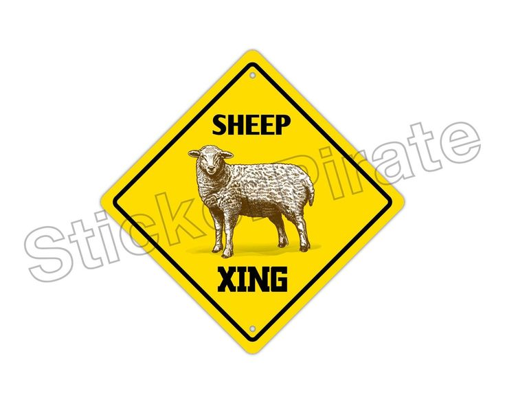 "Aluminum Sheep Crossing Funny Metal Novelty Sign 12""X12"""