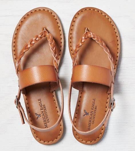 Tan AEO Braided & Wide Strap Sandal