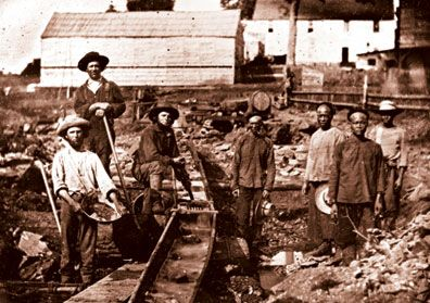 As you can see to the left there are chinese immigrants that are working in the gold minning
