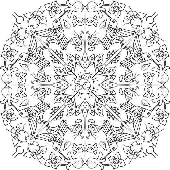 Hummingbird Wreath - Free Printable Mandala Coloring Page   #adultcoloring #mandalas #mondaymandala #coloring #ilovetocolor #art #color #printable #coloringpages #print #blackandwhite