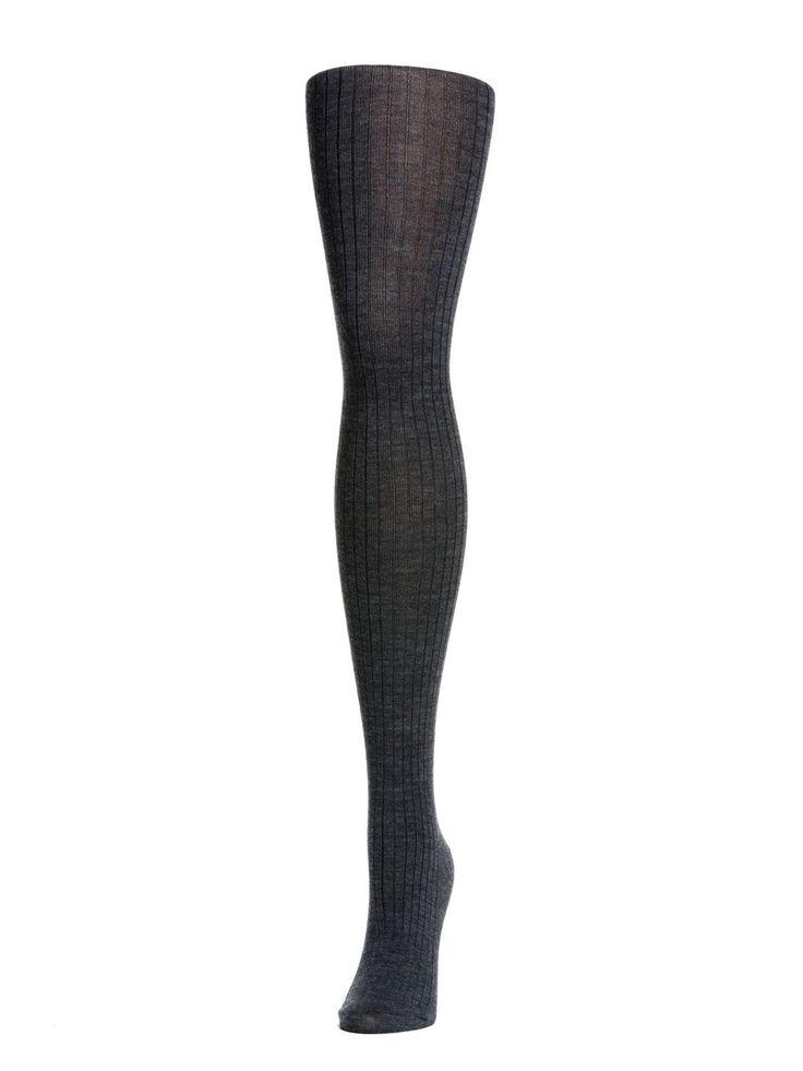 Rib Wool Tights - Navy Melange