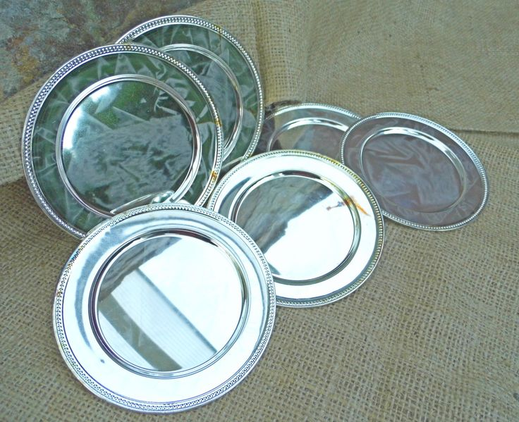 Set of 6 Round Coasters Pewter Drinks Cups Mats Vintage Aluminum Metal Stylish looks like Silver by WoodHistory on Etsy