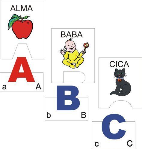 ABC-s puzzle (magyar nyomtatott kis/nagybetűs) - A kártyapárok alsó részén látható 1-1 színes, nagy méretű (magánhangzó: piros, mássalhangzó: kék) nyomtatott nagybetű. Meg kell keresni a hozzá illő felső kártyarészt, amin az adott betűvel kezdődő nagybetűs szókép és annak rajza található. A megoldás helyességét a pontosan illeszkedő oldalakkal lehet ellenőrizni.