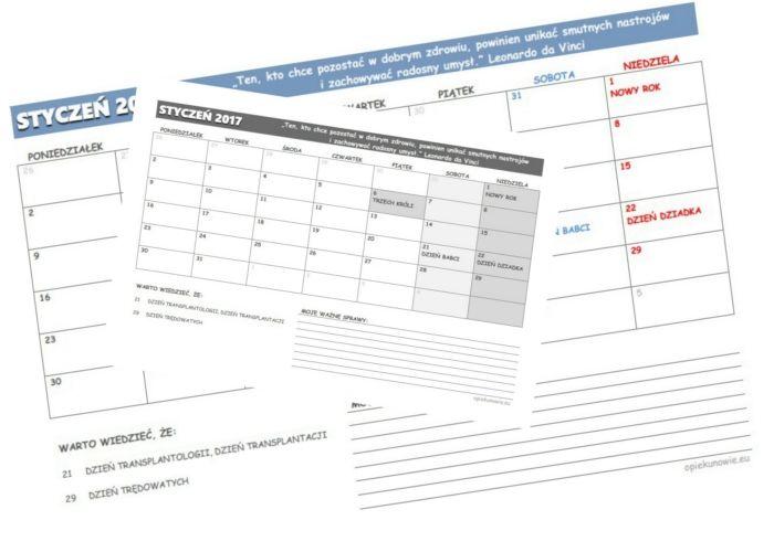 Do pobrania kalendarz z zaznaczonymi dniami poświęconymi zdrowiu i medycynie.