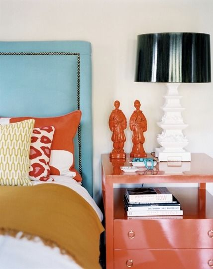 Bedroom colors.: Colors Combos, Orange, Bedrooms Colors, Headboards, Colors Combinations, Colors Schemes, Bedside Tables, Eclectic Bedrooms, Bright Colors