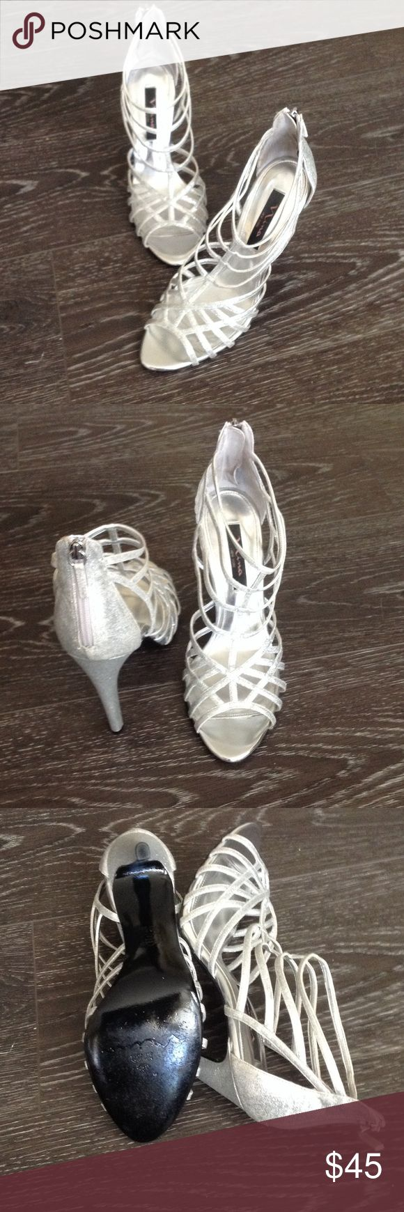 """Medina silver glitter heels worn once Perfect condition 4"""" heels. Zip back closure. Silver glitter. Worn for a few hours only. Nina Shoes Heels"""