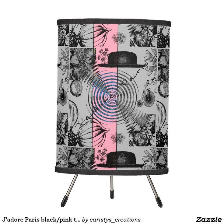 J'adore Paris black/pink table tripod lamp