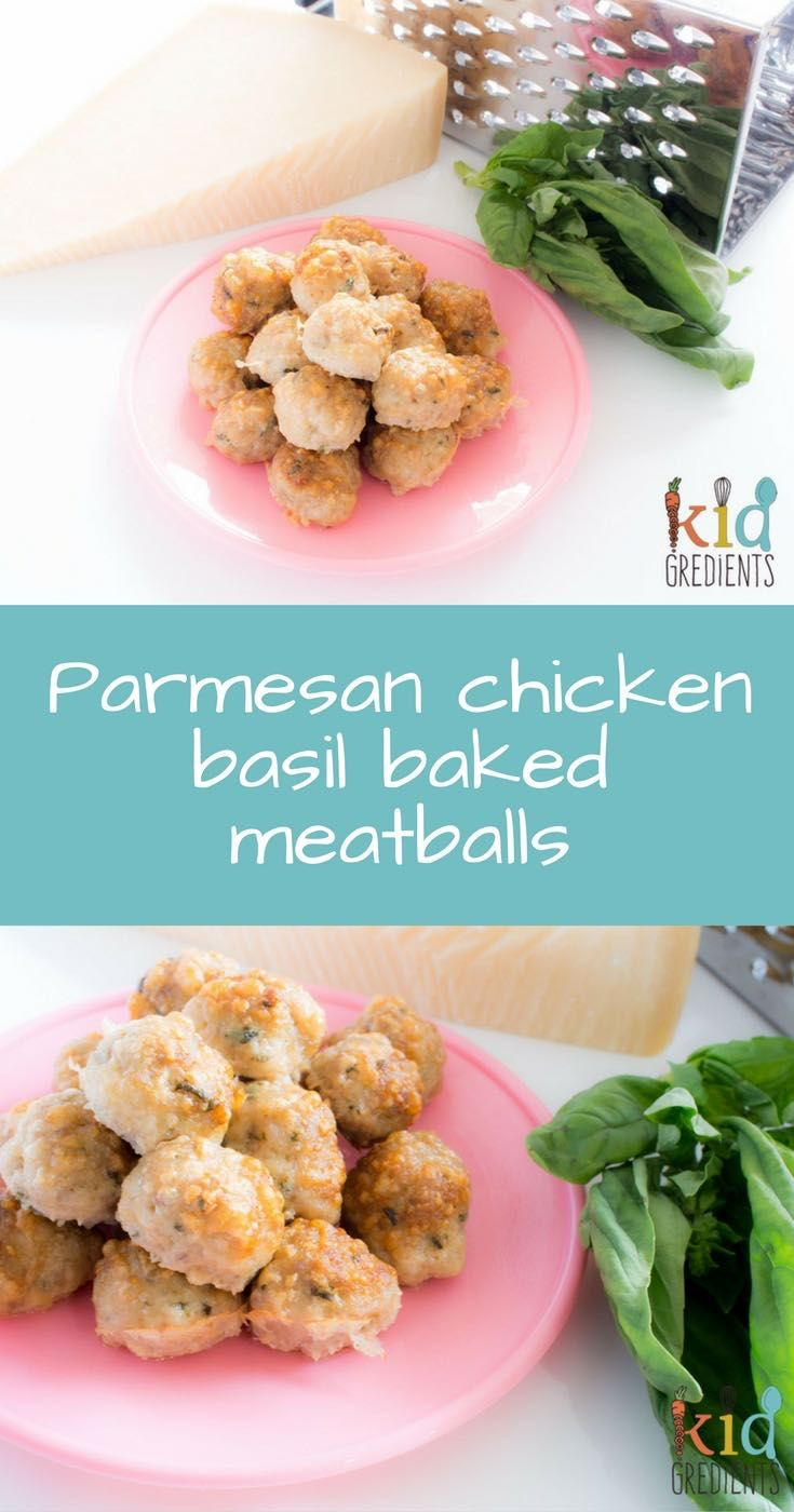 Delicious parmesan chicken basil baked meatballs.  Perfect for dinner with pasta or on a skewer, or in a lunchbox. Kid friendly and really yummy!