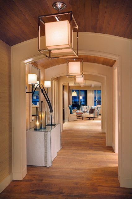 : Excellent Contemporary Hall Design With Light Brown Wooden Floor And Cube Shaped Modern Pendant Lighting Cover