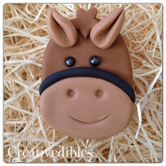 Cupcake de Fondant comestible Cookie Toppers caballo