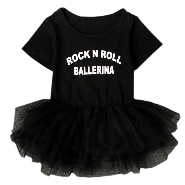 """""""Rock N Roll Bailarina"""" Slogan Preto Vestido Da Menina Do Bebê Botão Snap-manga Curta Criança Infantil Traje Tutu Roupa Do Laço NY03QZ"""