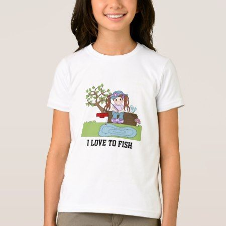 Cute fishing Girl's T-shirt - tap, personalize, buy right now!