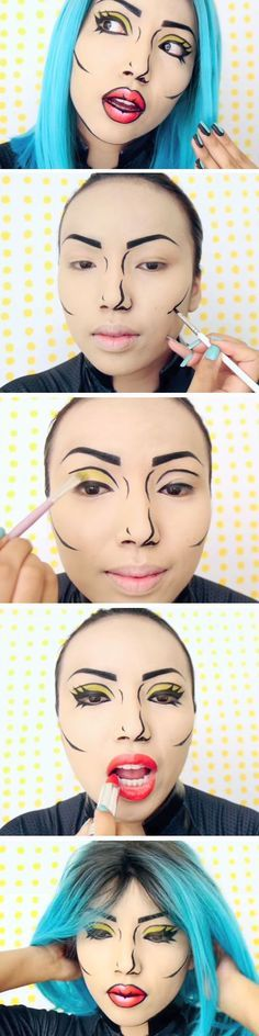 Tutorial de maquillaje pop art.  #Tutorial #Makeup #Fantasia