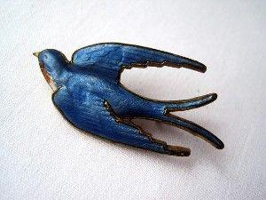 Enameled swallow brooch