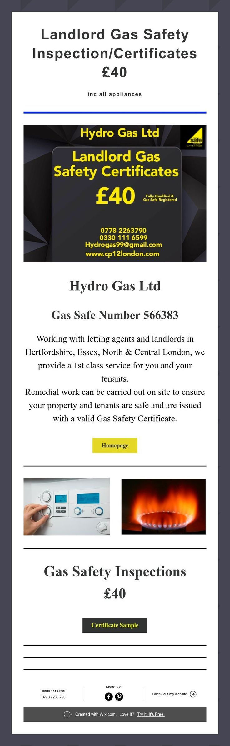 Landlord Gas Safety Inspection/Certificates £40 inc all