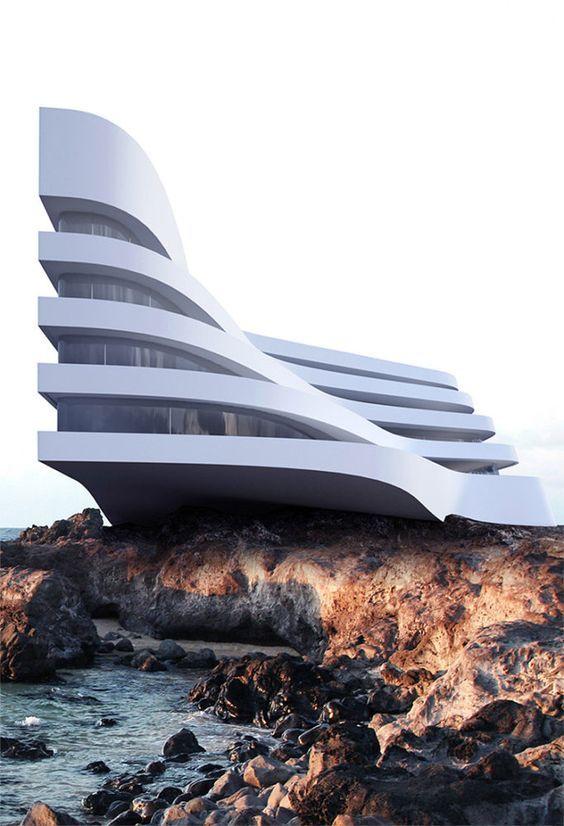 Immeuble en escalier + courbe.
