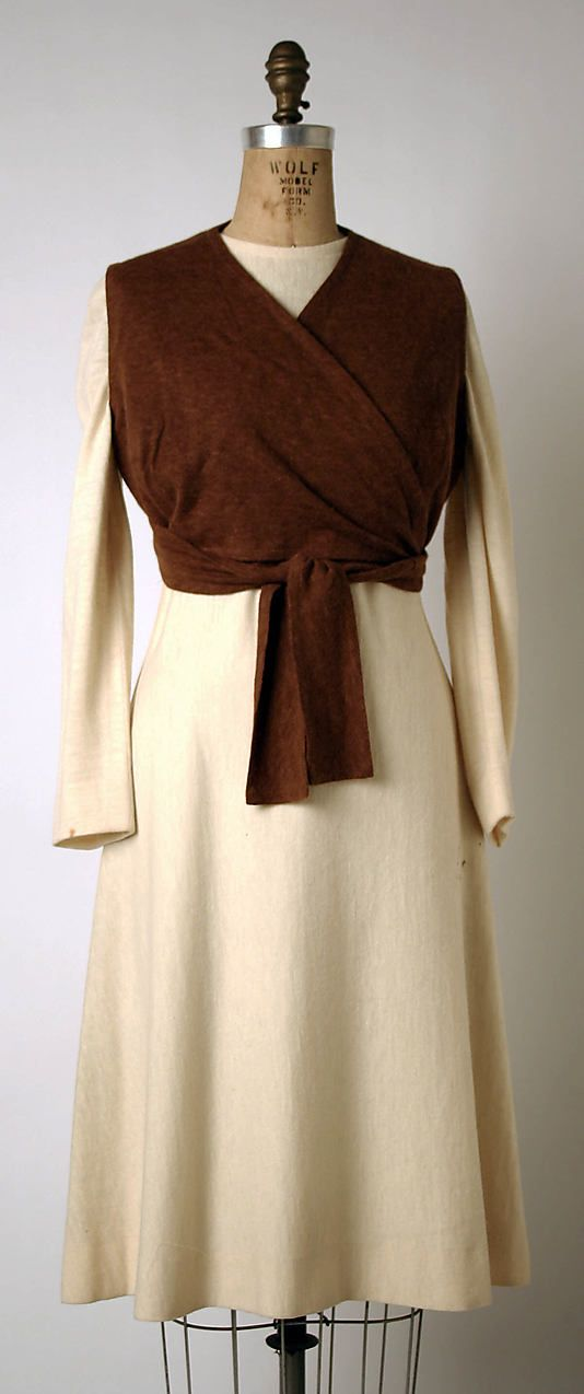 Ensemble (ivory wool dress with brown angora wrap), by Madame Grès (Alix Barton), French, ca. 1970.