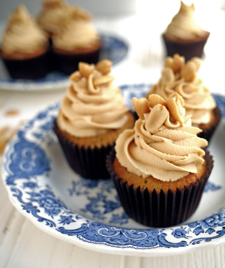 Banana cupcakes with peanut butter frosting. It has fruit in, so that means it's healthy! | Taming Twins